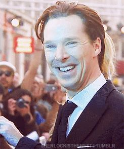 And this is why we love Benedict Cumberbatch.  GIF. Beautifulbatch and Dorkybatch - he doesn't care!