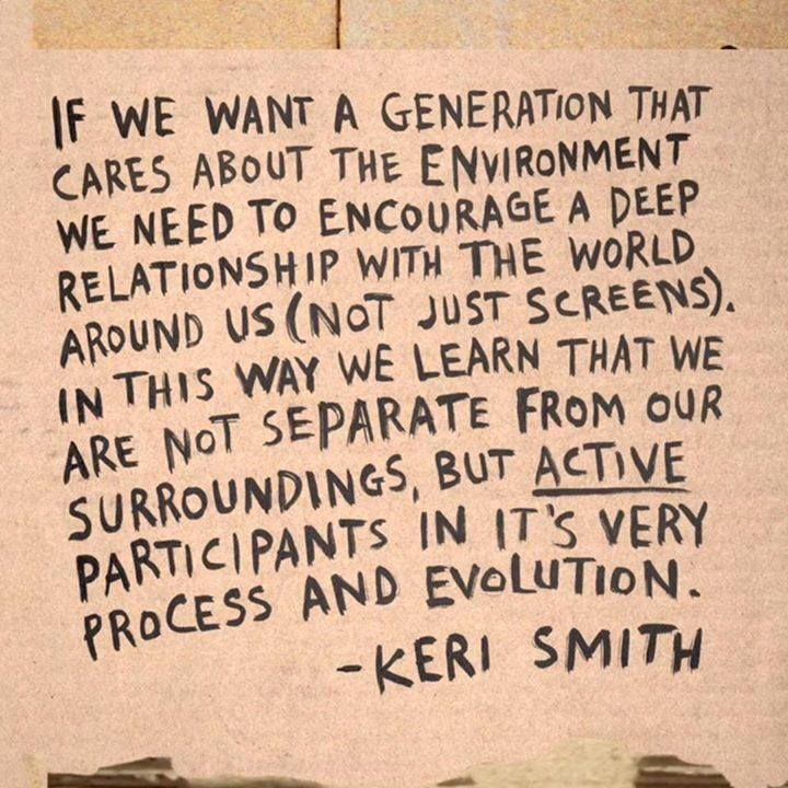 We couldn't have said it better! Children need to care about nature, the environment... and learn from it too! (Reggio inspired news)