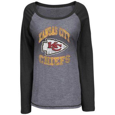Kansas City Chiefs Ladies Queen Long Sleeve Raglan T-Shirt - Ash/Black