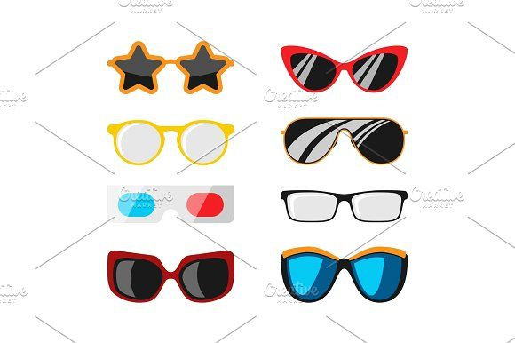 70d35f7679a Fashion set sunglasses accessory sun spectacles plastic frame modern eyeglasses  vector illustration. by RocketArt on  creativemarket