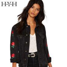 Hyh haoyihui чернокожих женщин джинсовая куртка повседневная цветочные вышивка уличная пальто vintage карманы кнопка пригородных пальто(China (Mainland))