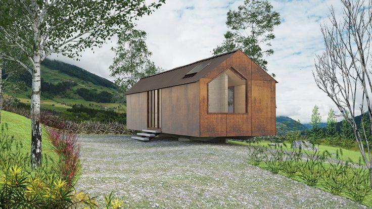 """Se crea como tipo refugio (Sección a dos Aguas), """"Figura arquetípica de la casa"""" que vuelve a la configuración del hogar y se convierte en una pieza para vivir en contacto con la naturaleza. 27m2-47m2-67m2"""