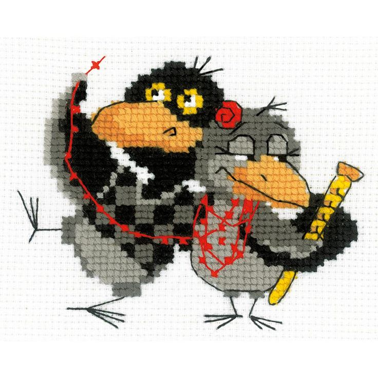 Riolis-Two Ravens Counted Cross Stitch Kit. Express your love for arts and crafts with these beautiful cross stitch kits! Find a themed kit for any taste! This package contains 10 count color Zweigart