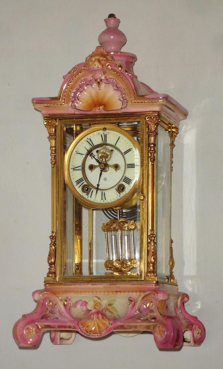 Antique Clock Crystal Porcelain Regulator
