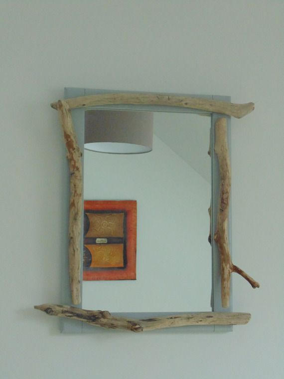Miroir contour en bois flotté - création unique