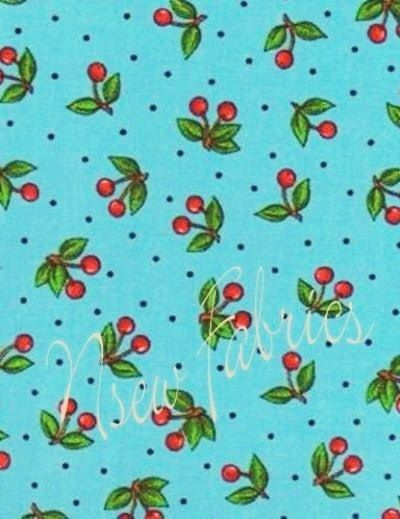 mary engelbreit fabric | Mary Engelbreit Fabric BIG RED Cherry on BLue Cotton