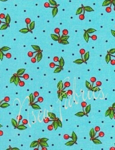 Mary Engelbreit Fabric BIG RED Cherry on BLue by NsewFabrics, $9.99