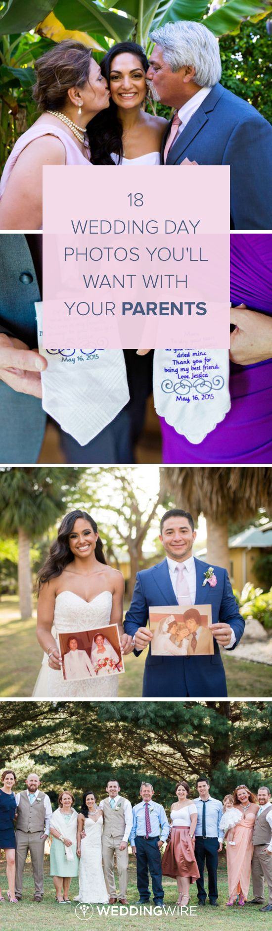 18 Wedding Day Photos You'll Want With Your Parents - Get ideas for photos you'll want on your wedding day shot list for your photographer from @weddingwire! {Shaunte Dittmar Photography; Andie Freeman Photography; Camille Fontanez Photography; Monica Mendoza Photography}