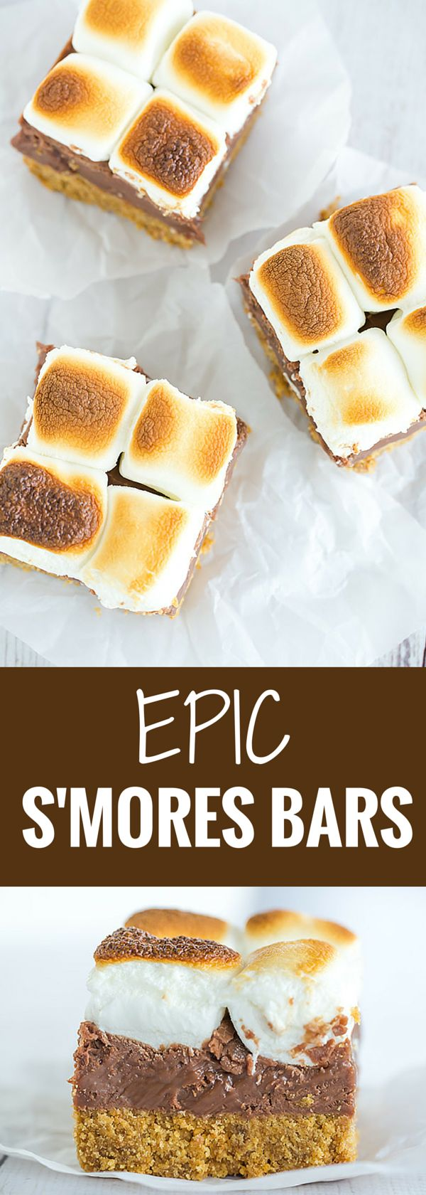 These s'mores bars boast a thick graham crust, a fudgy milk chocolate layer, and are topped with toasted marshmallows, of course!
