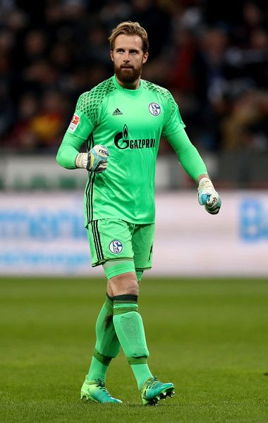 Ralf Faehrmann, goalkeeper of Schalke celebrates during the Bundesliga match between Bayer 04 Leverkusen and FC Schalke 04 at BayArena on April 28, 2017 in Leverkusen, Germany.