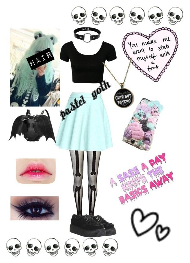 """Pastel goth"" by teenagederpbagg ❤ liked on Polyvore featuring River Island, Catherine Catherine Malandrino, Underground, women's clothing, women's fashion, women, female, woman, misses and juniors"