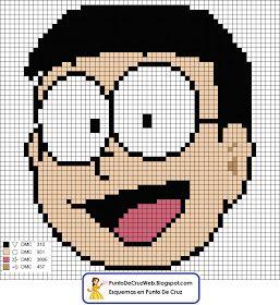 Esquema en punto de cruz de la carita de Nobita, el simpático amigo de Doraemon Nobita Nobi es un niño con gustos extraños y de quinto cur...