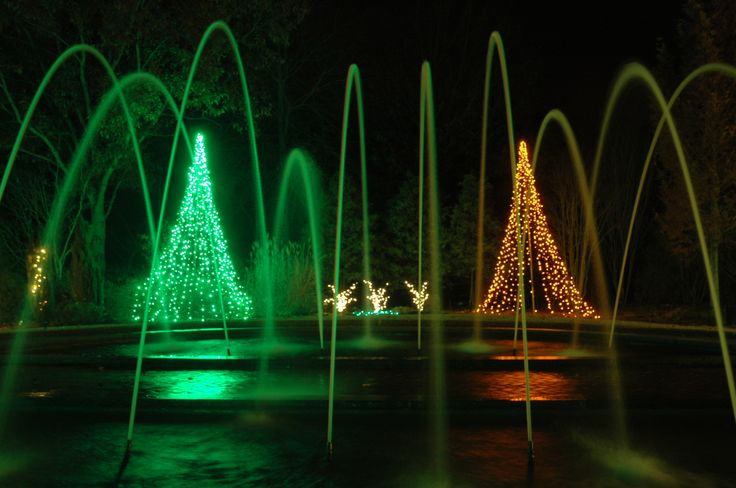 The Tunnel Fountain is a favorite area for night-time photographs during Holidays at the Garden 2013, at Daniel Stowe Botanical Garden.