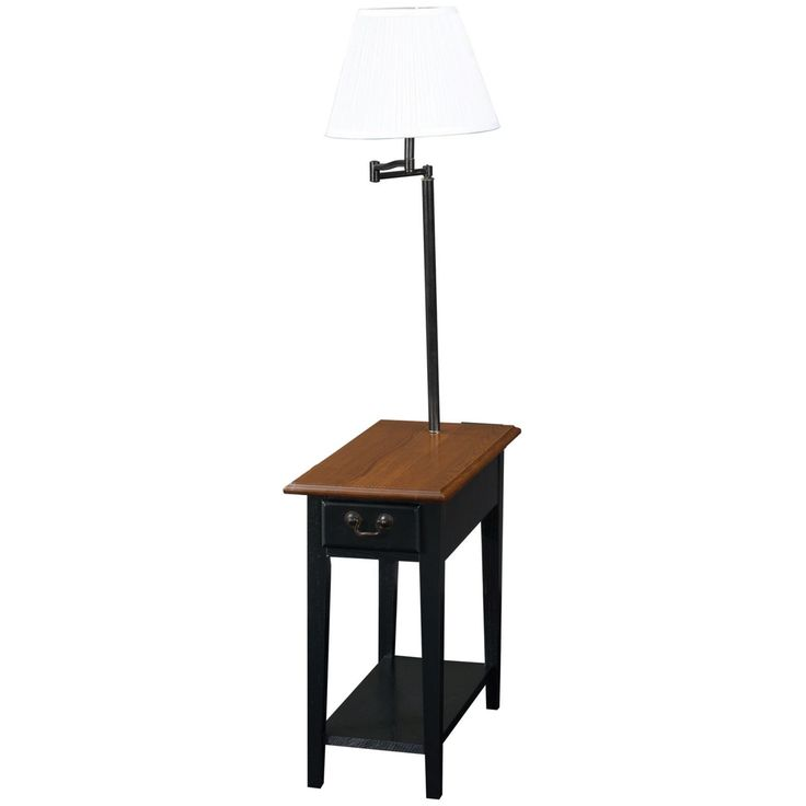 Chairside End Table with Swing Arm Lamp in Black - 9037-SL