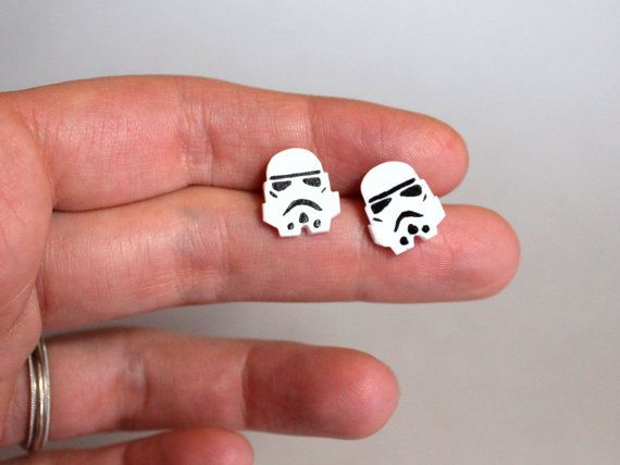 Star Wars Stormtrooper Handmade Titanium Stud Earrings by HeyBernadette #starwars