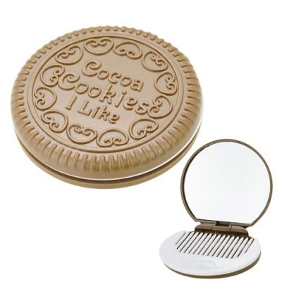Novel Cocoa Cookie Shaped Design Mirror Makeup Cream Comb