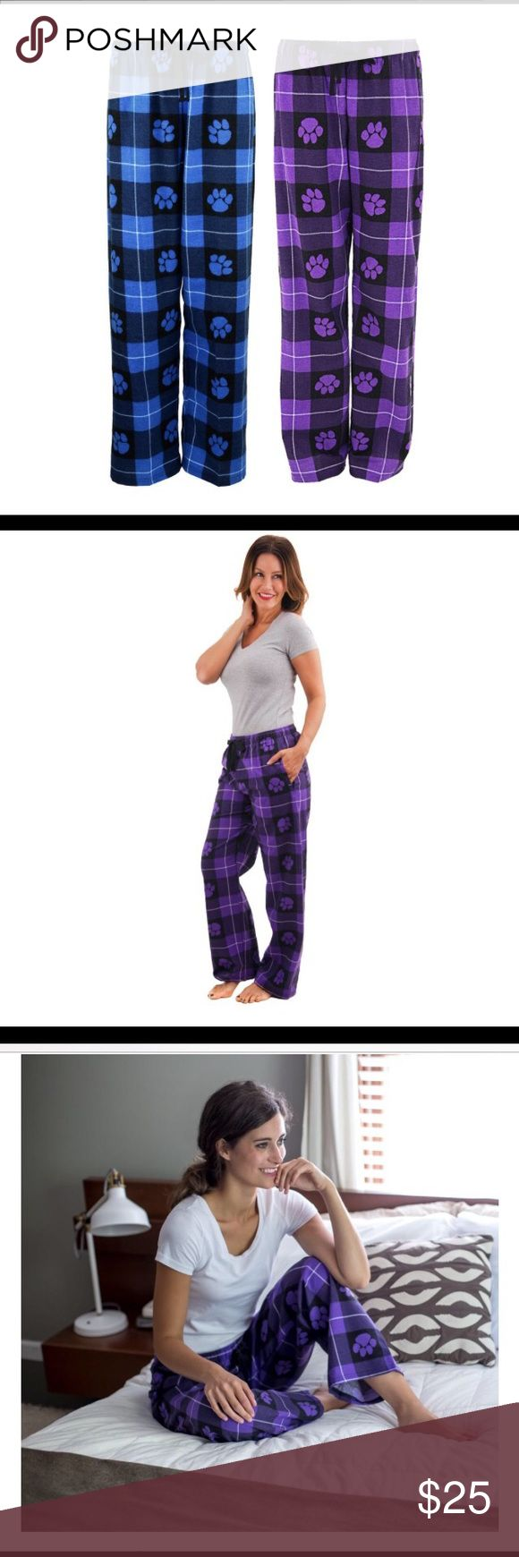 NEW! 🐾 PAW PRINT FLANNEL PAJAMA BOTTOMS 2X New! Purple and black paw print flannel pajama pants purchased from Greater Goods. I got double gifted for Christmas so I'm selling a purple and a blue pair. They are true to size and excellent quality! You won't regret buying these! A donation feeds animals and provides medical care as well from purchases are made on Greater Goods so price may seem pricey...PLEASE, NO OFFERS! Greater Goods Intimates & Sleepwear Pajamas