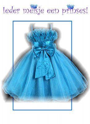 Blauwe gala jurk met glinsterende tule rok 128/134