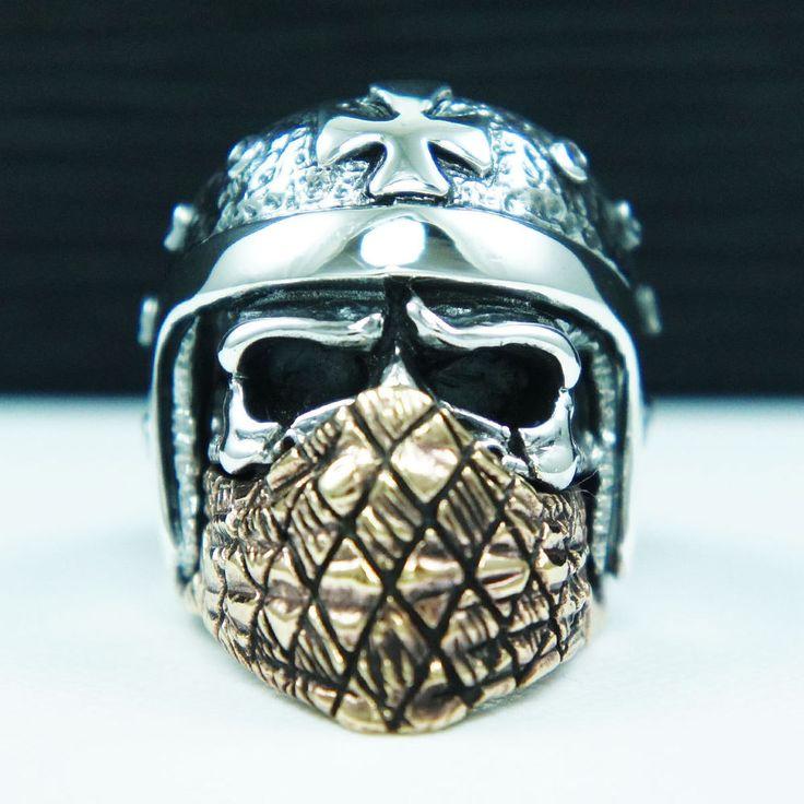 BANDANA SKULL HELMET BIKER 925 STERLING SILVER US Sz 13 ROCKER RING tan-r030   Jewelry & Watches, Men's Jewelry, Rings   eBay!