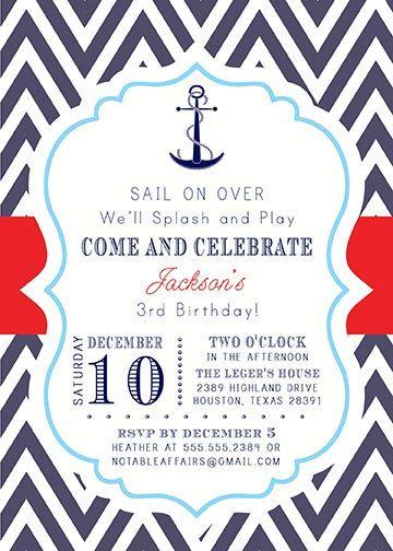 17 Best ideas about Nautical Birthday Invitations on Pinterest ...