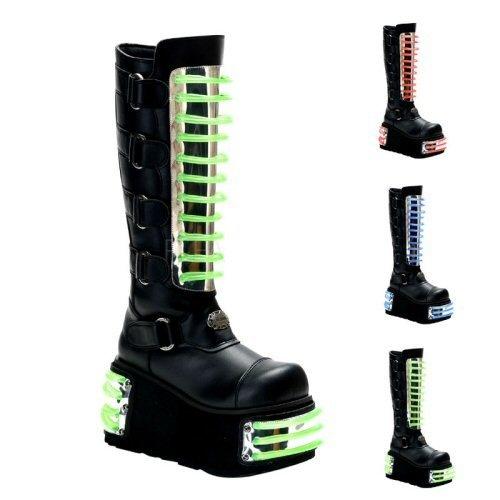 Demonia ZOMBIE-106UV 4 1/2 Inch P/F Punk Goth 4 Buckle Sandal W/ Cyber UV Print ZMTJfzgL0