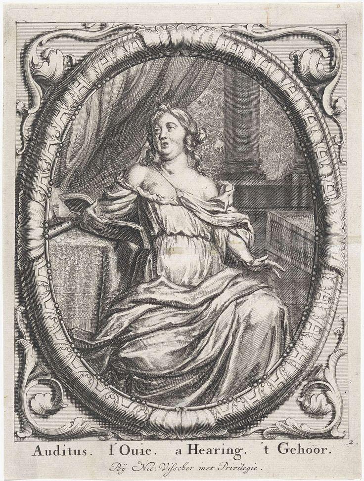 """Auditus"" by Willem Swidde, David van der Plas, Nicolaes Visscher (I), c. 1676 - after 1688"