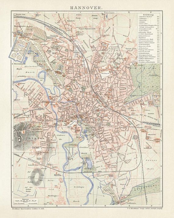 Hannover Antique Map Reproduction /  Old Map Print of Hannover - handmade paper print.