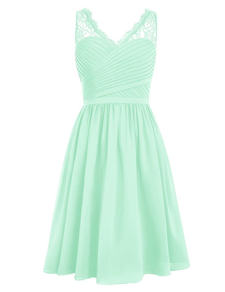 Dresstells® Short Homecoming Dress V-neck Ruched Chiffon Bridesmaid Prom Dress Mint Size 6