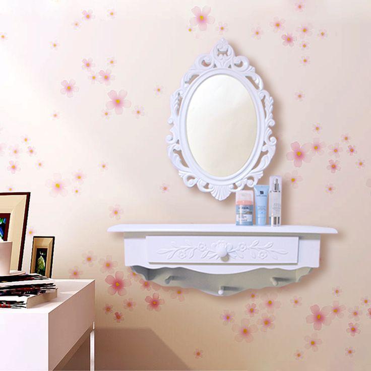 Simple blanc vintage miroir de courtoisie mode commode coiffeuse de toilette support mural étagère murale(China (Mainland))