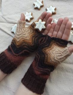 Free Knitting Pattern: Zimtstern Mitts.  Interesting construction from the thumb out.