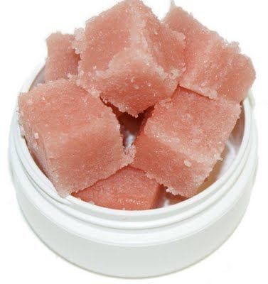 strawberry champagne sugar scrub    2.5oz Natural Shea Butter Melt and Pour Glycerin Soap  4oz. Refined Shea Butter  16oz. White Sugar  2 Tablespoons Fractionated Coconut Oil  1 Tablespoon Fragrance Oil (or 1/2 Tablespoon Essential Oil) of Choice  Pinch of ultramarine or oxide pigment (optional)