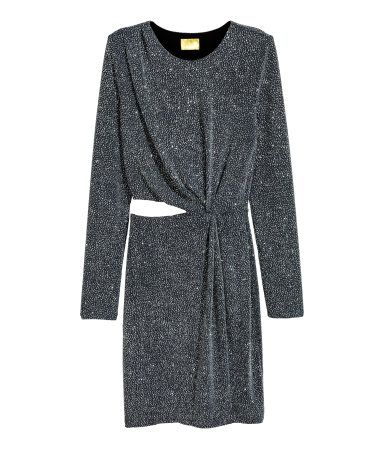 Dark gray&silver-colored. Short, fitted dress in jersey with glittery threads.