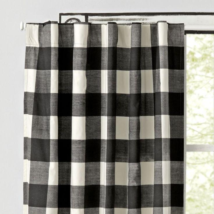Black Buffalo Check 63″ Blackout Curtain + Reviews | Crate and Barrel