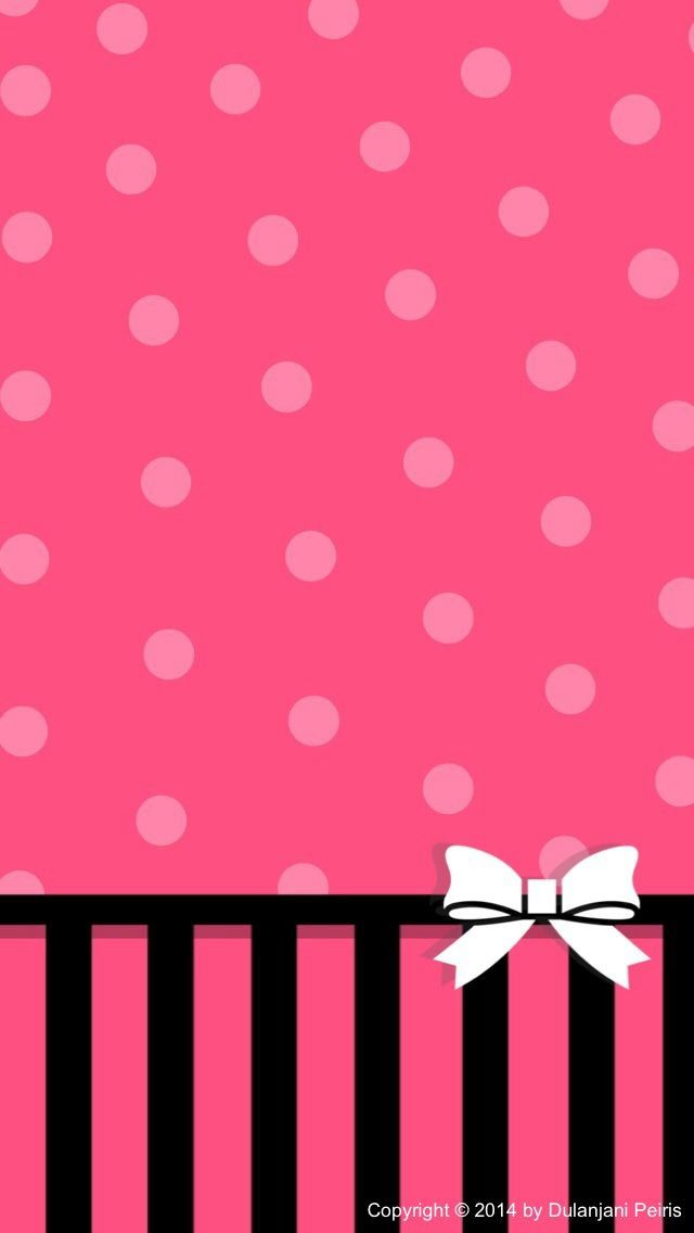 Pink Dots White Bow Wallpaper