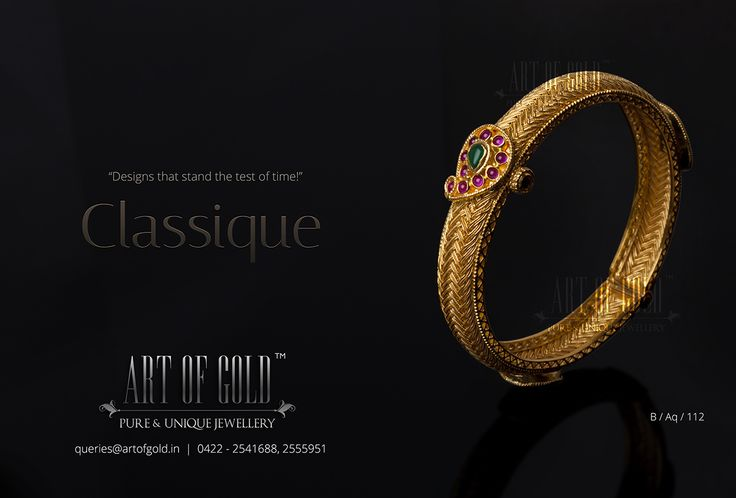 Antique Mango Bangle with intricate workmanship from Art of Gold Jewellery. Browse our collections for more antique jewellery.