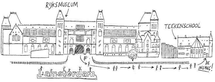 De Teekenschool ligt naast het Rijksmuseum.  En als je er een cursus of workshop volgt hoort er altijd een rondleiding door het Rijksmuseum bij!