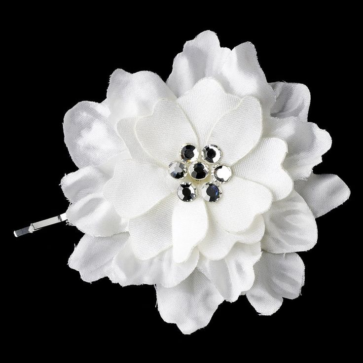 Opal Crystal Flower Accents on Delphinium Flower Bobby Hair Pin 906 (Set of 2)