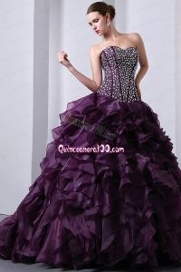 Purple Princess Sweetheart Brush Train Beading Quinceanea Dress for 2014