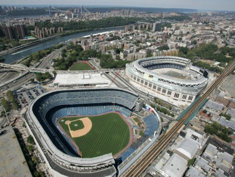 Old New York Yankees Stadium next to New Ballpark, New York, NY
