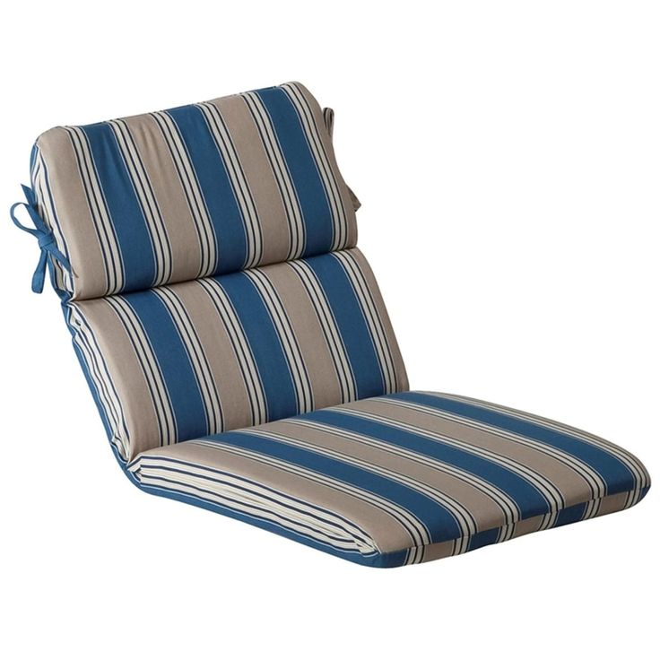 Outdoor Patio Furniture High Back Chair Cushion   Blue And Tan Stripe,  Multi, Outdoor