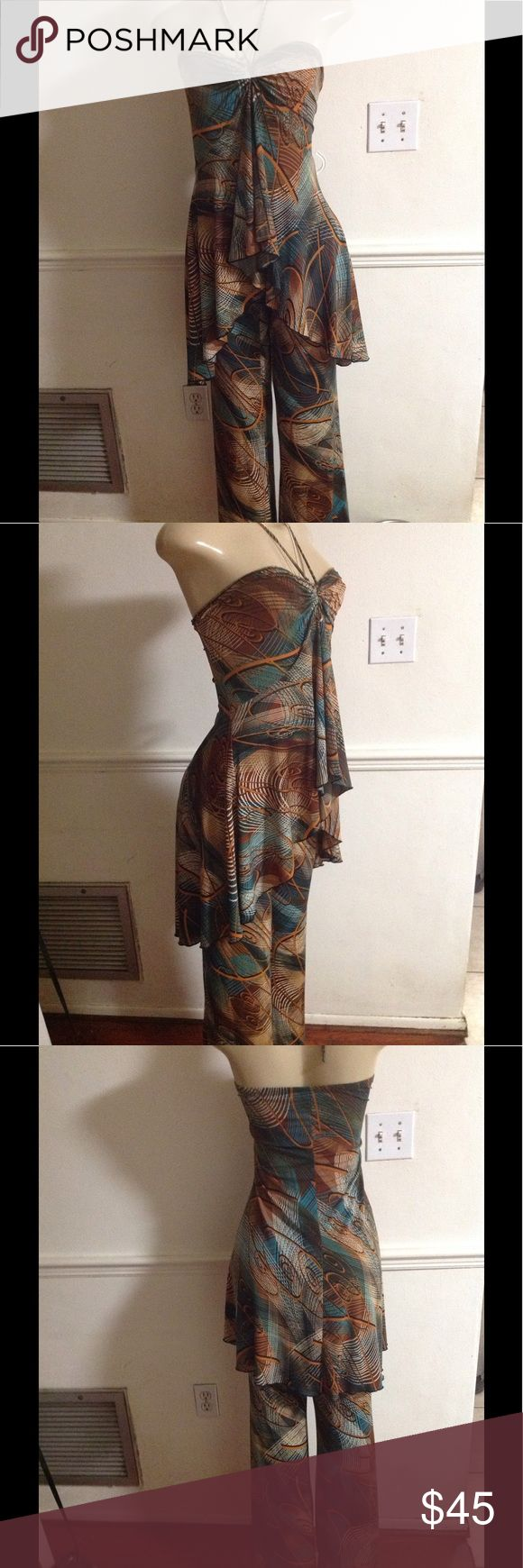 True vintage set by Miss California Apparel This gorgeous true vintage 2 piece set is a stunning halter top open in front bell bottoms 70ties look simply stunning hippie boho look Miss California Apparel Pants Jumpsuits & Rompers