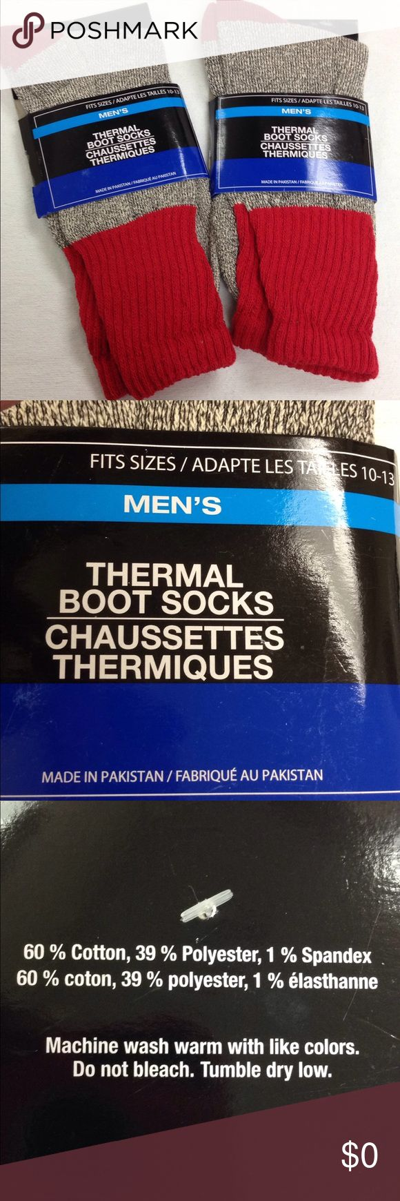 🌴NEW LISTING🌴 Men's Thermal Boot Socks Cotton, polyester and spandex. Size 10–13. (11/30) Underwear & Socks Casual Socks