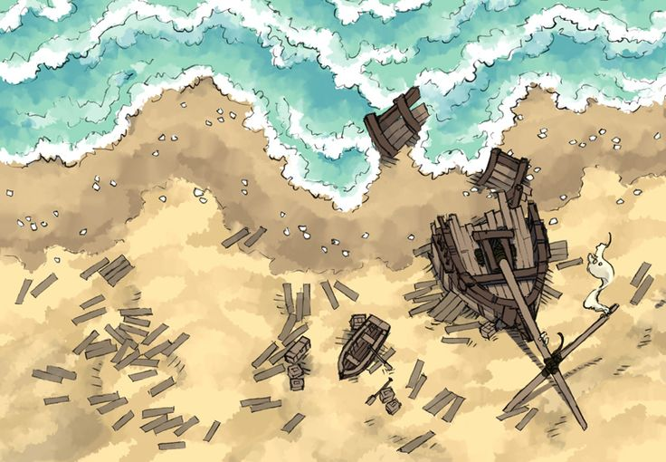 The Shipwreck, a FREE battle map for D&D / Dungeons & Dragons, Pathfinder, Warhammer and other table top RPGs. Tags: beach, ocean, pirate, sea, seafaring, ship, shipwreck, shore