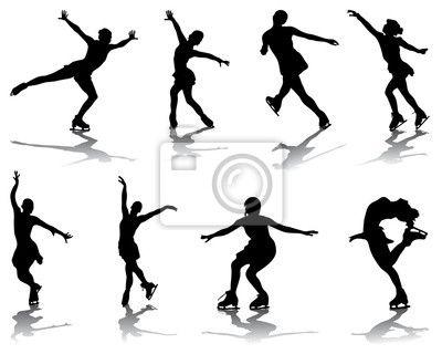 Fotomural Siluetas y sombras de patinaje, vector