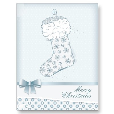 Christmas stocking -icy blue postcards