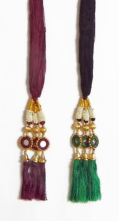 A Pair of Parandi - For Hair Braids with Green and Maroon Tassels (Thread)
