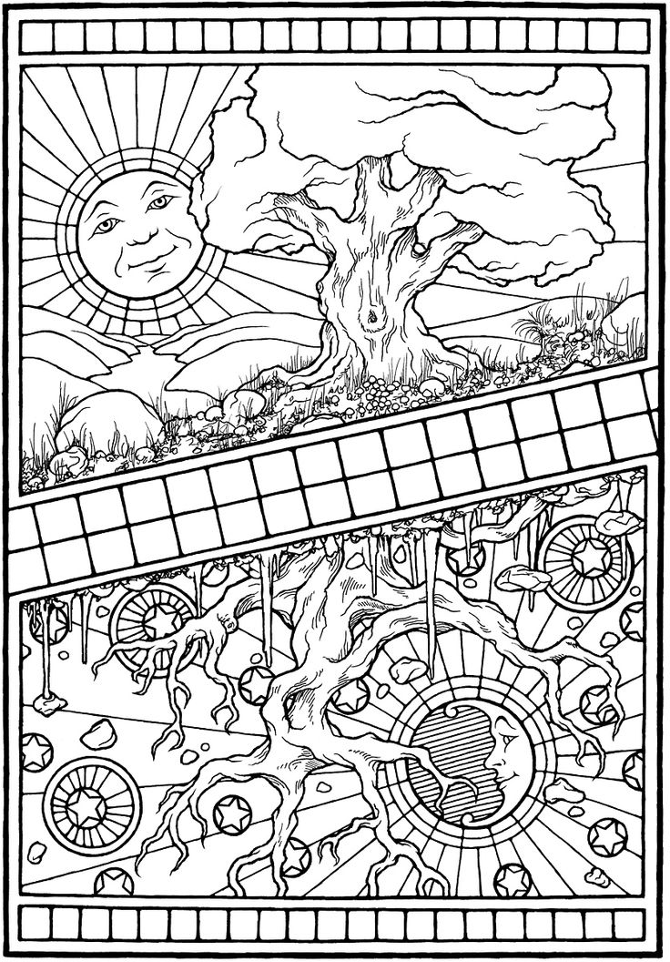 """""""As Above, So Below,"""" from EQUINOX, A Coloring Book by Stephen Barnwell"""