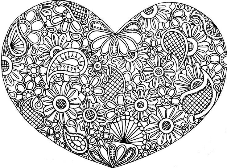 Hearts aand paisley zentangle coloring