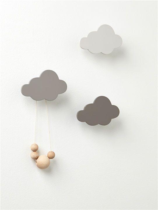 Wandhaken 'Wolke', 3er-Pack GRAU