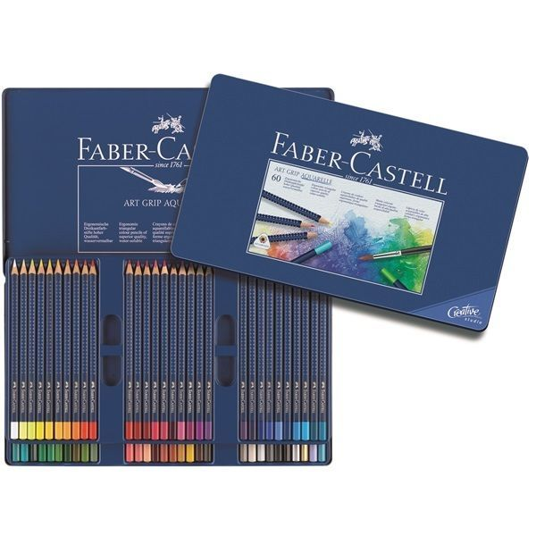 Faber-Castell Watercolour Pencil Art Grip Aquarelle Tin of 60 Professional #FaberCastell